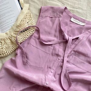 100% Silk French Connection Lilac Blouse